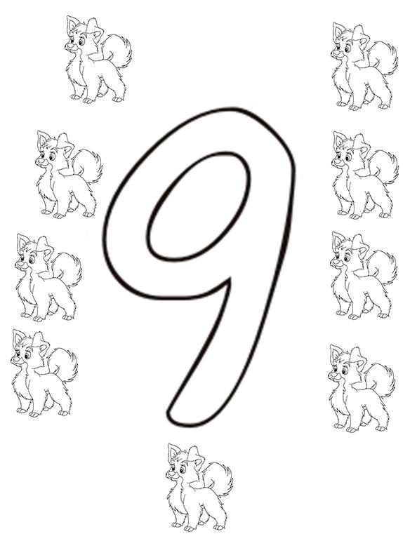 Ausmalbilder Zahl Neun